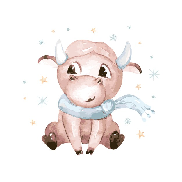 watercolor cartoon bull illustration symbol of the year 2021 funny and cute bull christmas illustration 125155 89 33fd3